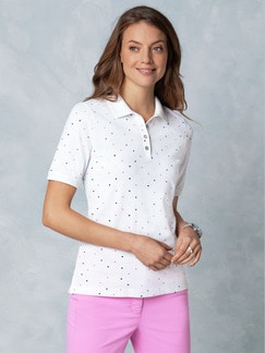 Stretch Pique Polo Multicolor Tupfen Marine/Pink/Gelb Detail 1
