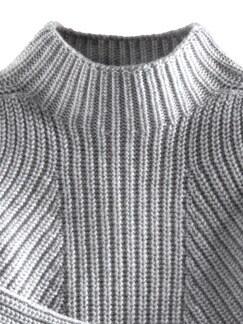 Cashmino Pullover Nahtlos Grau Melange Detail 3