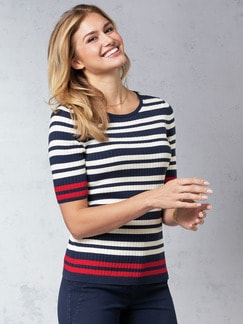 Strick- Shirt Pima Cotton Streifen