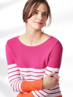 Pullover Bretonstreifen Orange/Pink/Weiß Detail 4