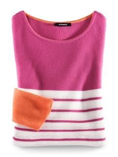 Pullover Bretonstreifen Orange/Pink/Weiß Detail 2