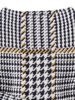 Baumwollpullover Hahnentritt Marine/Safran Detail 4