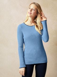 Rippen Pullover Schurwollmix Cashmere Blau Detail 1