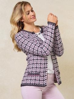 Strickjacke Baumwoll-Tweed Schwarz/Pink Detail 1