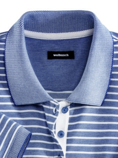 Extraglatt-Polo Pima Cotton Royalblau gestr Detail 3