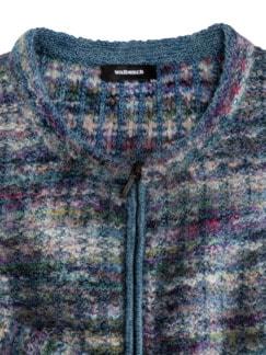 Alpaka Strickjacke - Soft Boucle Blau Detail 3