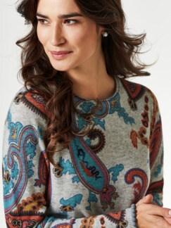 Cashmere Leicht-Pullover Paisley Multicolor Detail 4