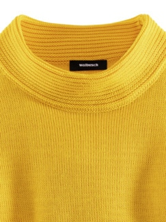 Kaminkragen Pullover Querrippe Sonnengelb Detail 3