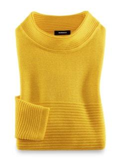 Kaminkragen Pullover Querrippe Sonnengelb Detail 2