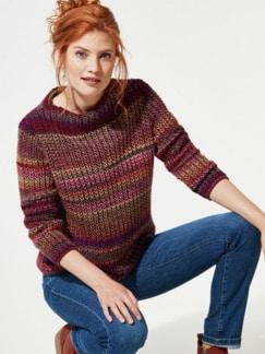 Grobstrick-Pullover Farbverlauf Kürbis Detail 1