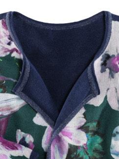 Wendestrickjacke Eisblume Blumendruck blau Detail 3