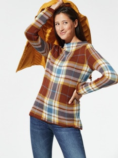 Glencheck-Pullover Zimt Detail 1