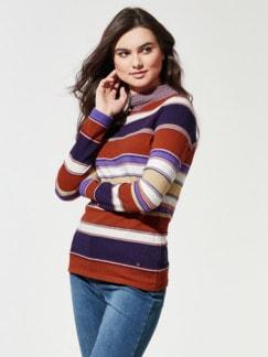 Stehkragen-Ringel-Pullover Zimt/Violett Detail 1