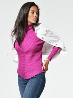 Rollkragen-Pullover Diagonalrippe Fuchsia Detail 1