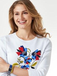 Baumwollshirt Blumenmuster Weiß Detail 4