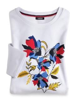Baumwollshirt Blumenmuster Weiß Detail 2