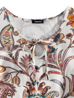 Viskoseshirt Paisleyblume Weiß Detail 3