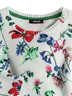 Baumwoll-Pullover Gartenblumen Weiß gemustert Detail 3