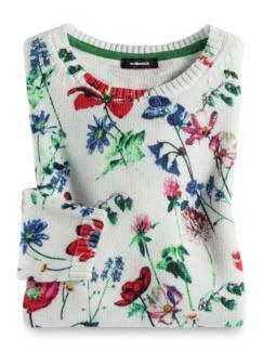 Baumwoll-Pullover Gartenblumen Weiß gemustert Detail 2