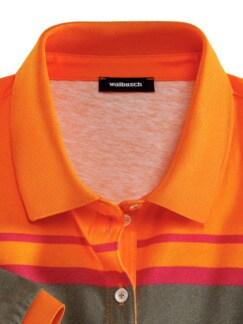 Blockstreifen-Polo Tropenfieber Mandarine Multicolor Detail 3