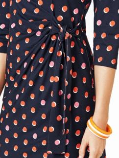 Wickeloptik-Jerseykleid Dots Marine/Multicolor Detail 4