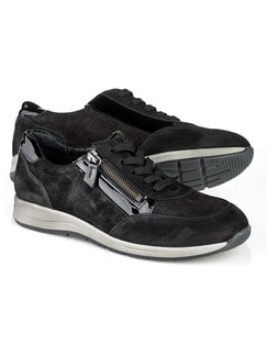 Reißverschluss-Sneaker Glitzermix Schwarz Detail 1