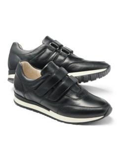 Hirschleder Doppelklett-Sneaker Schwarz Detail 1