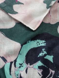 Viskose Schal Blumendruck Smaragdgrün Detail 3