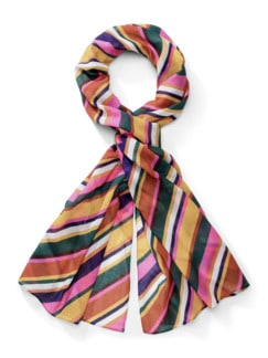 Kuschel-Schal Streifen Multicolor Zimt Detail 1
