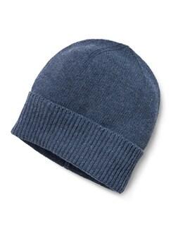 Feinstrickmütze Cashmeremix Jeansblau Detail 1
