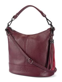 Lederhandtasche Standfest Kastanie Detail 1