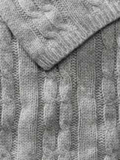 Cashmere-Zopfstrick-Schal Grau Detail 3