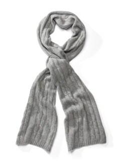 Cashmere-Zopfstrick-Schal Grau Detail 1