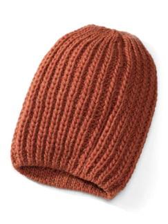 Rippenstrick-Mütze Rostorange Detail 1