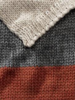 Strick-Streifenschal Rostorange Detail 3