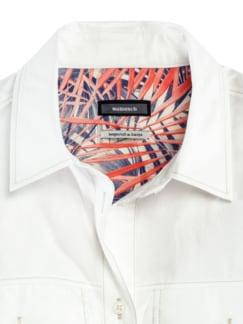 Pima-Cotton-Hemdbluse Palme Weiß Detail 4