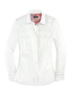 Pima-Cotton-Hemdbluse Palme Weiß Detail 3