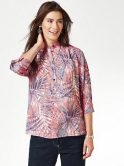 Viskose-Shirtbluse Stehkragen Blau/Rot Detail 1