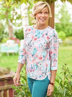 Viskose Shirtbluse Sommerleicht Geblümt Rose Detail 2