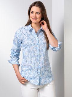 Extraglatt-Bluse Modern Classic Streifen Blau Detail 1