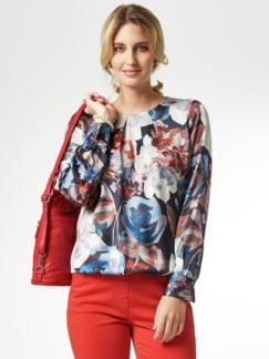 Edel-Shirtbluse Aquarellblüten Blau/Rot Detail 1