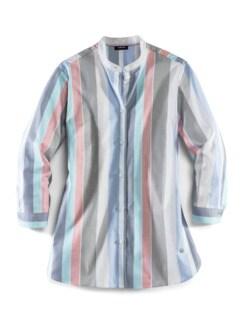 Pima-Cotton-Hemdbluse Streifen Blau Detail 2