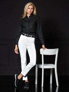 Extraglatt Hemdbluse Black & White Schwarz Detail 2