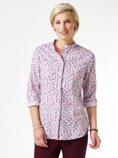 Stretchflanell-Stehkragen-Bluse Minimal Multicolor Detail 1