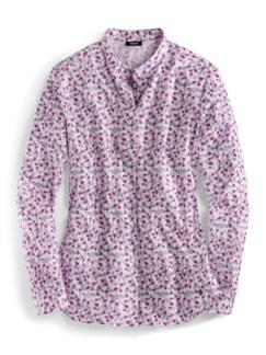 Stretchflanell-Stehkragen-Bluse Minimal Multicolor Detail 2