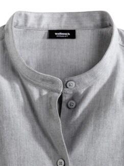 Stretchflanell-Stehkragen-Bluse Grau Melange Detail 3