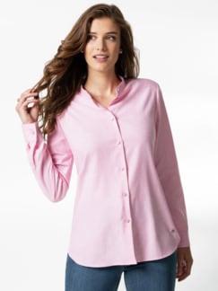 Stretchflanell-Stehkragen-Bluse Rose Melange Detail 1