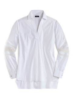 Bluse mit Spitzenärmel Weiß Detail 4