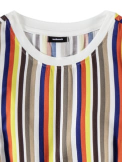 Shirtbluse-Multicolor-Streifen Khaki/Blau Detail 3