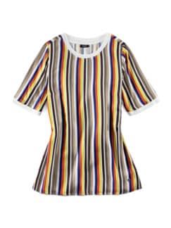 Shirtbluse-Multicolor-Streifen Khaki/Blau Detail 2